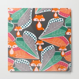 Summer fun with foxes and leaves Metal Print