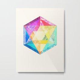 Retro Rainbow Patchwork Hexagon Metal Print