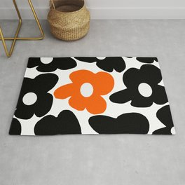 Large Orange and Black Retro Flowers White Background #decor #society6 #buyart Rug