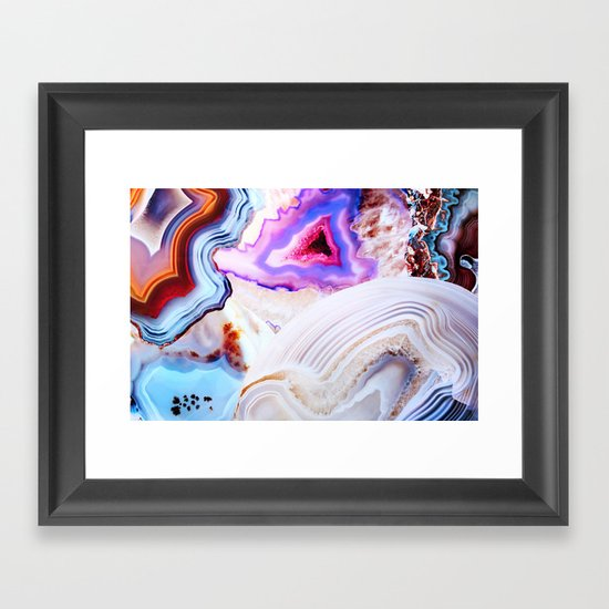 Agate, a vivid Metamorphic rock on Fire Framed Art Print