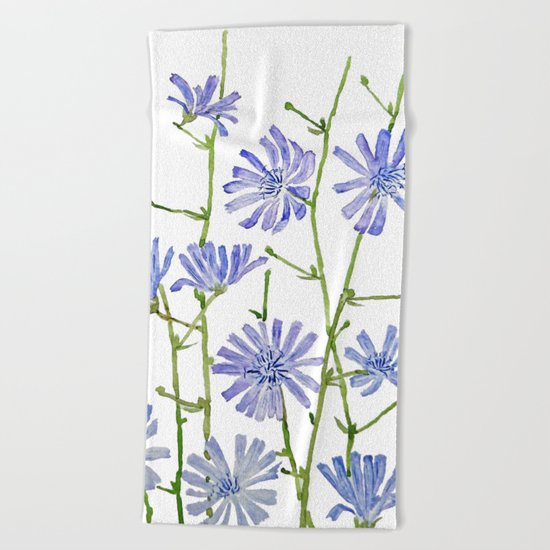 blue chicory watercolor Beach Towel