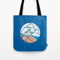 volleyball Tote Bags featuring Beach Volleyball by Erik Sandi Satresa