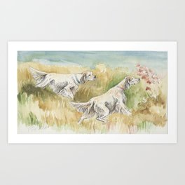 ENGLISH SETTERS in the field Hunting scene Art Print