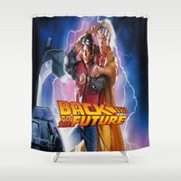 back to the future Shower Curtains featuring back to the future by linsakam