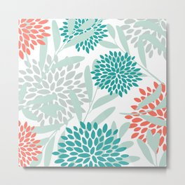 Floral Leaves and Blooms Coral, Teal Green and White Metal Print