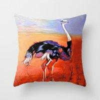 ostrich Throw Pillows featuring Ostrich by Vicki Lynn Rae