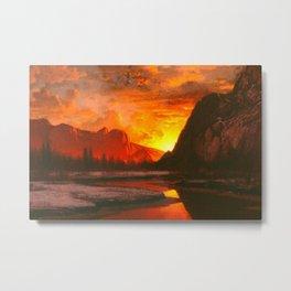 Classical Masterpiece 'Sunset in the Yosemite Valley' by Albert Bierstadt Metal Print