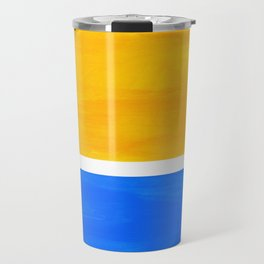 Primary Yellow Cerulean Blue Mid Century Modern Abstract Minimalist Rothko Color Field Squares Travel Mug