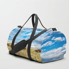 Grazing - Bison Graze Under Big Sky on Oklahoma Prairie Duffle Bag