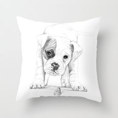 Patch, A Boxer Puppy :: Shelter Dog Project Throw Pillow