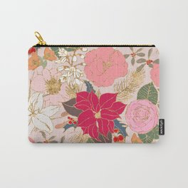 Elegant Golden Strokes Colorful Winter Floral Carry-All Pouch
