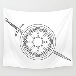 Claymore and Shield Outline Wall Tapestry