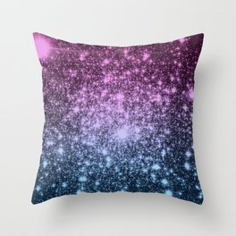 Galaxy Sparkle Stars Dark Mauve Steel Blue Throw Pillow