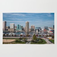 baltimore Area & Throw Rugs featuring Baltimore Skyline by Josh Lohmeyer