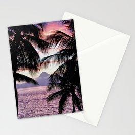 Pink Tahiti Sunset Over Moorea Stationery Cards