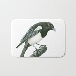 Magpie ink painting Bath Mat