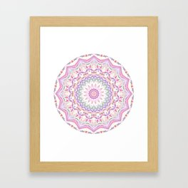 Calypso Mandala in Pastel Pink, Purple, Green, and White Framed Art Print