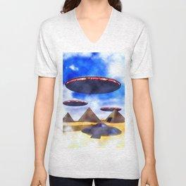Ancient Aliens - UFO Pyramids Unisex V-Neck