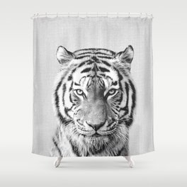 Tiger - Black & White Shower Curtain