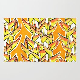 Heliconia Rostrata / Lobster Claw, yellow, orange  & white, Rug