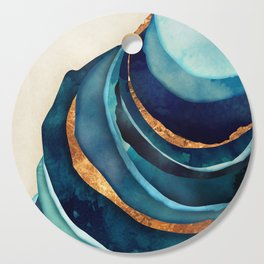 Abstract Blue with Gold Cutting Board