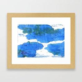 Bleu de France abstract watercolor Framed Art Print