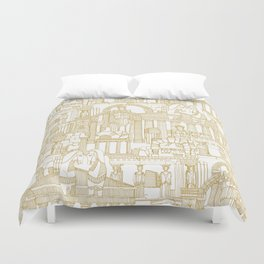 Ancient Greece gold white Duvet Cover