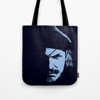 metal gear solid Tote Bags featuring Big Boss (Snake / metal gear solid) by TxzDesign