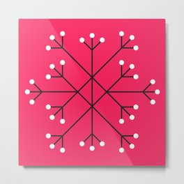 Mod Snowflake Hot Pink Metal Print