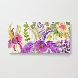 Chinese Brush Floral with Orchid Metal Print
