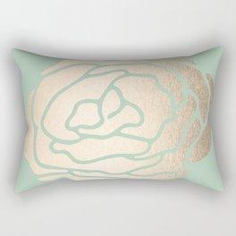 Rose White Gold Sands on Pastel Green Cactus Rectangular Pillow