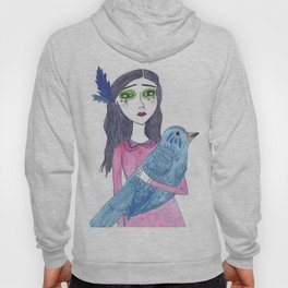 The blue bird landed on her chest Hoody