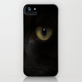 Black cat with yellow eyes iPhone Case