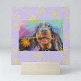 Gordon Setter Dog with flowers Valentine's Day gift Mini Art Print