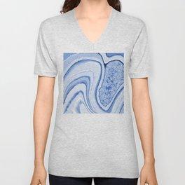 Blue Crystal Watercolor Effect Design Unisex V-Neck