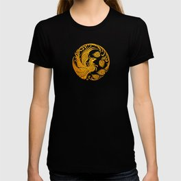 Traditional Yellow and Red Chinese Phoenix Circle T-shirt