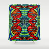 dna Shower Curtains featuring DNA #2 by Art By Carob