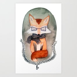 Hipster Fox Watercolor Art Print