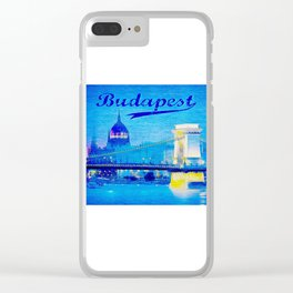Budapest, light blue Clear iPhone Case