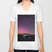 subaru V-neck T-shirts featuring Nocturnal Subaru by Race Jones