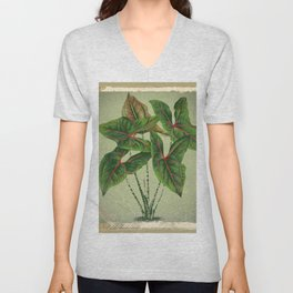 Grungy antique style  Botanical Art Unisex V-Neck