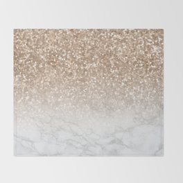 Sparkle - Gold Glitter and Marble Throw Blanket