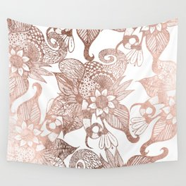 Vintage Faux Rose Gold Rustic Floral Drawings Wall Tapestry