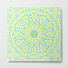 Abstract mosaic pattern .  Lemon color and sky blue . Metal Print