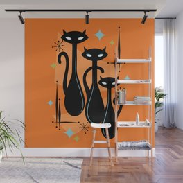 Effervescent Orange Atomic Age Black Kitschy Cat Trio Wall Mural