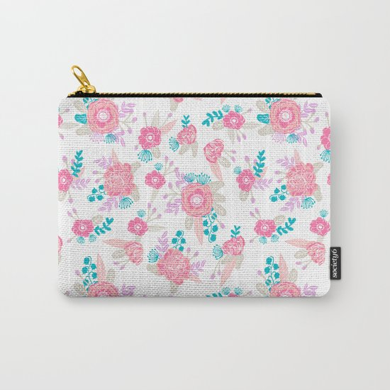 Florals bright modern color palette nursery home decor flower bouquet pattern Carry-All Pouch