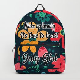 July girl it's time to beast floral pattern Backpack