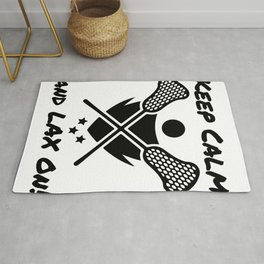 Lacrosse Keep Calm and LAX On Lacrosse Player Rug