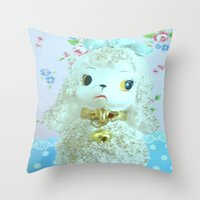 poodle Throw Pillows featuring Poodle by Vintage  Cuteness
