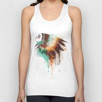 native american Tank Tops featuring Native American Girl by TapuTIKI
